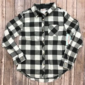 Cat & Jack girl's long sleeve flannel shirt 11/12